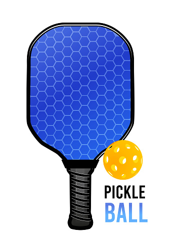 Pickleball with a ball and a racket for playing. Vector illustration
