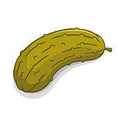 istock Pickled green cucumber vegetable vector illustration 1215459799