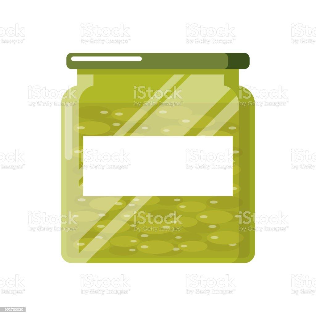 Pickled olives in glass jar with blank label.Vegetables preserves in marinate. vector art illustration