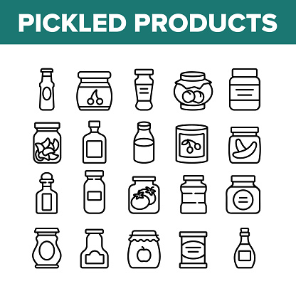 Pickled Product Food Collection Icons Set Vector