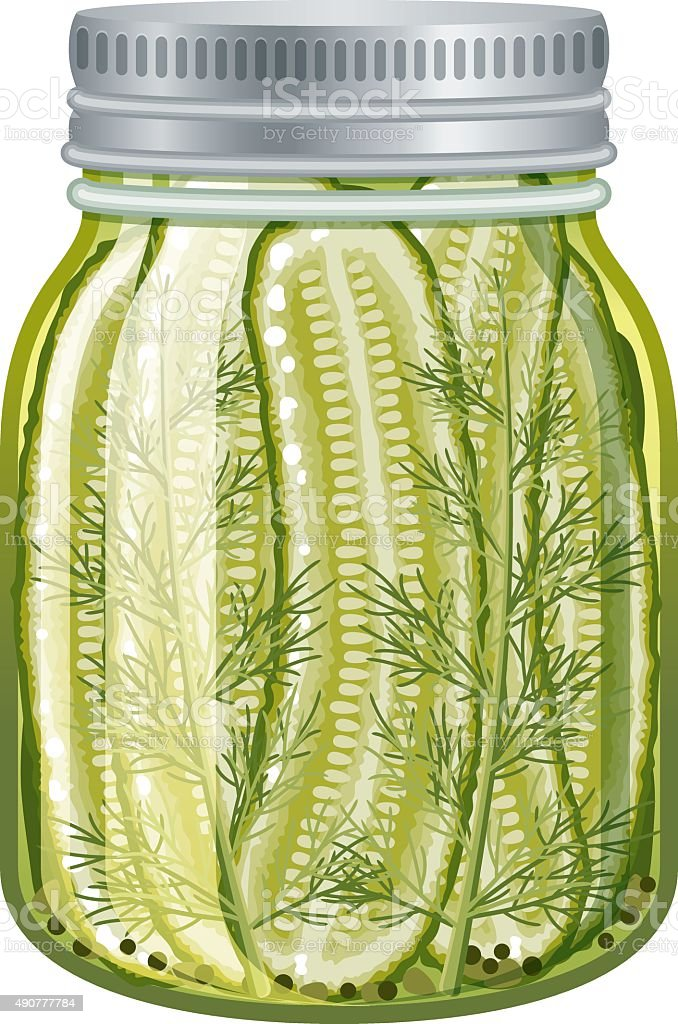 Pickled sliced cucumbers in glass jar isolated on white vector art illustration