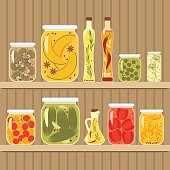 Pickled vegetables in glass jars vector illustration