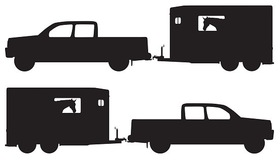 Pickup and Horse Trailer in Silhouette