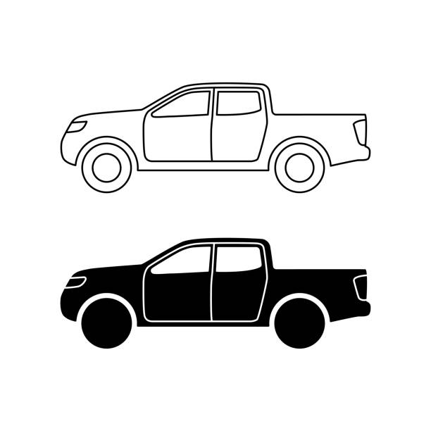 Pickup Car Icon Line And Black Fill On White Background
