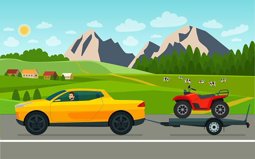 Pickup truck car with a driver tows a trailer with an ATV on a landscape background. Vector flat style illustration.