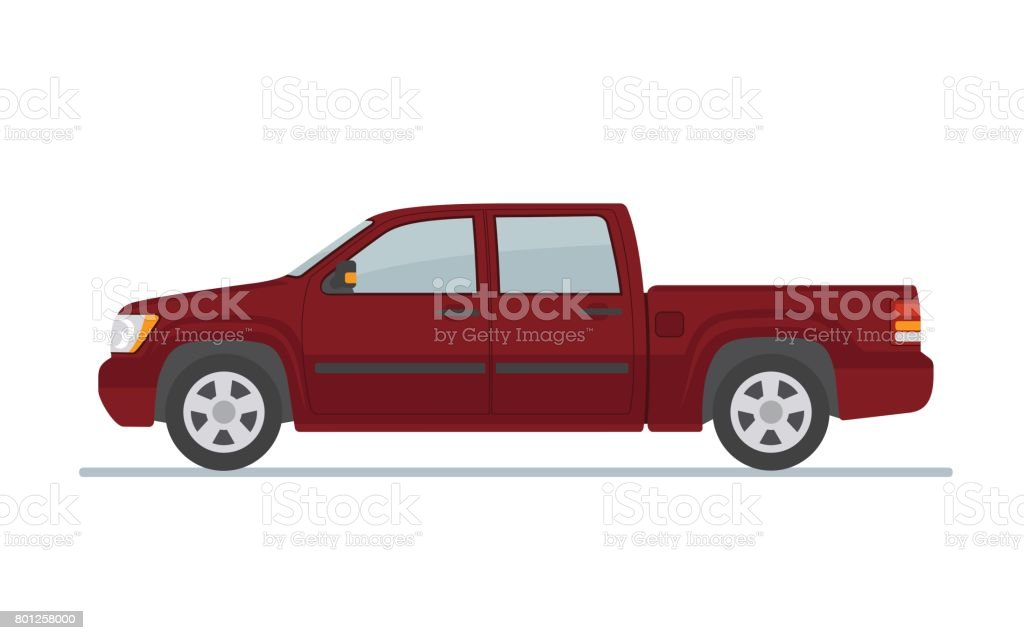 Pickup truck  isolated on white background. vector art illustration