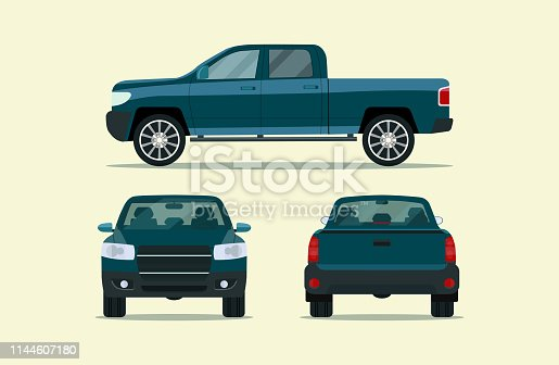 Pickup truck isolated. Pickup truck with side view, back view and front view. Vector flat style illustration
