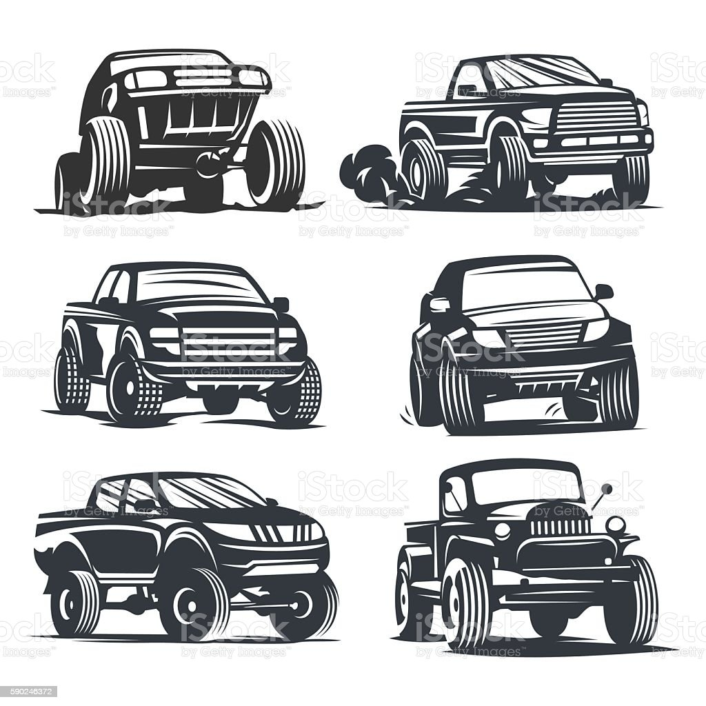 pickup truck set vector art illustration