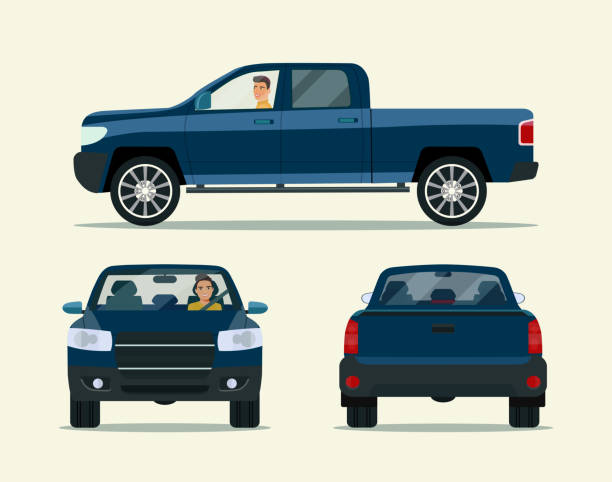 Pickup truck two angle set. Car with driver man side view, back view vector art illustration