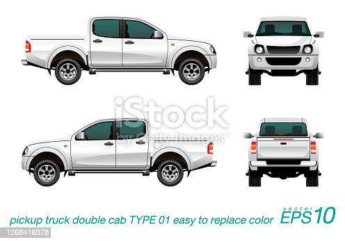 VECTOR EPS10 - double cab pickup truck template, isolated car on white background,