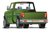 Generic green pick-up truck isolated on white