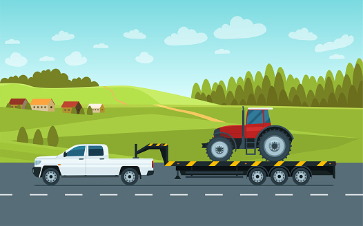 A pickup truck with a trailer transports a tractor on the road against the backdrop of a rural landscape. Vector flat style illustration.