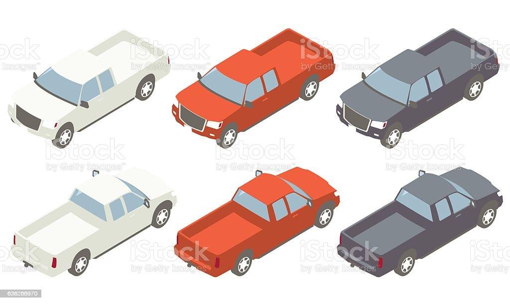 Pickup Trucks Isometric Illustration vector art illustration