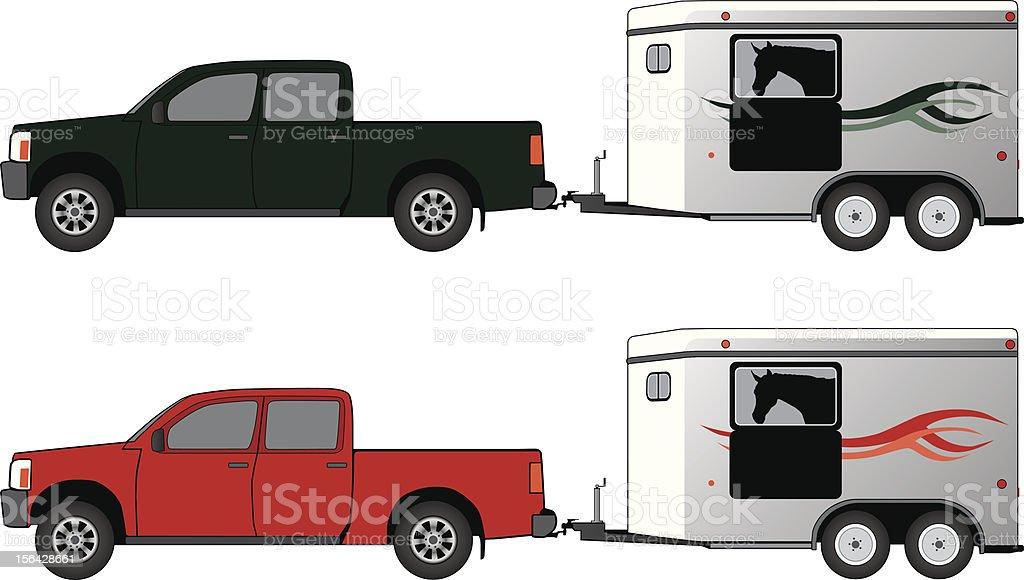 Pickup with horse trailer vector art illustration