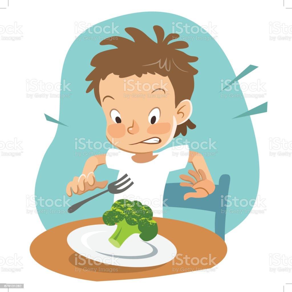 Picky eater vector art illustration