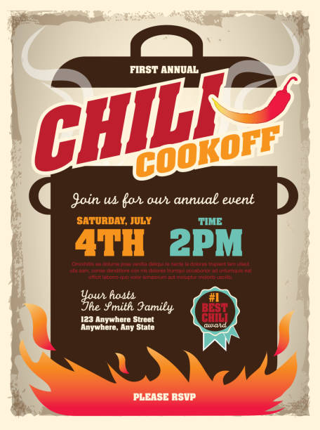 Picnic and barbecue chili cookoff invitation design template Vector illustration of a Chili Cookoff invitation design template. Bright and colorful. Includes yellow, red color themes with large crock pot on flames. Textured background Perfect for white background design for picnic invitation design template, summer barbecue event, picnic celebration, backyard bbq, private or corporate party, birthday party, fun family event gathering, potluck supper. cooking competition stock illustrations