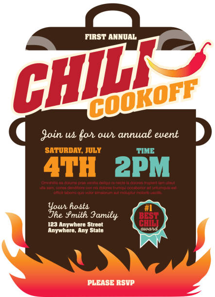 Picnic and barbecue chili cookoff invitation design template Vector illustration of a Chili Cookoff invitation design template. Bright and colorful. Includes turquoise, red color themes with large crock pot on flames. Perfect for white background design for picnic invitation design template, summer barbecue event, picnic celebration, backyard bbq, private or corporate party, birthday party, fun family event gathering, potluck supper. cooking competition stock illustrations