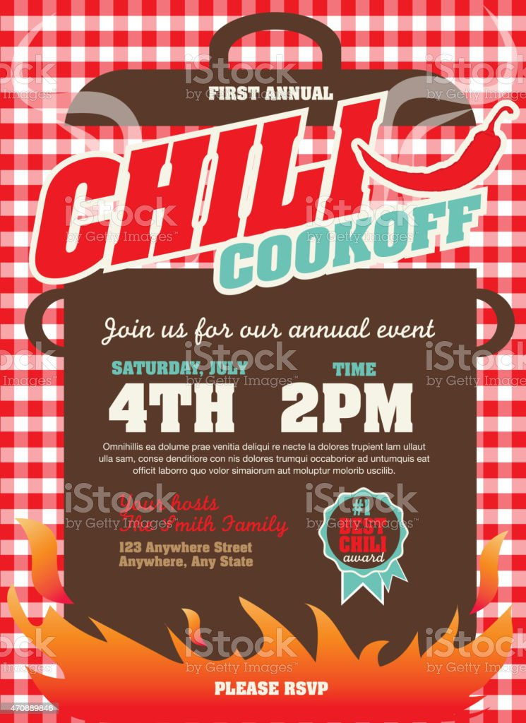 Picnic and barbecue chili cookoff invitation design template Vector illustration of a Chili Cookoff invitation design template. Bright and colorful. Includes turquoise and red color themes with checkered table cloth. Perfect for pattern background for picnic invitation design template, summer barbecue event, picnic celebration, backyard bbq, private or corporate party, birthday party, fun family event gathering, potluck supper. 2015 stock vector