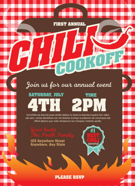 Picnic and barbecue chili cookoff invitation design template Vector illustration of a Chili Cookoff invitation design template. Bright and colorful. Includes turquoise and red color themes with checkered table cloth. Perfect for pattern background for picnic invitation design template, summer barbecue event, picnic celebration, backyard bbq, private or corporate party, birthday party, fun family event gathering, potluck supper. cooking competition stock illustrations