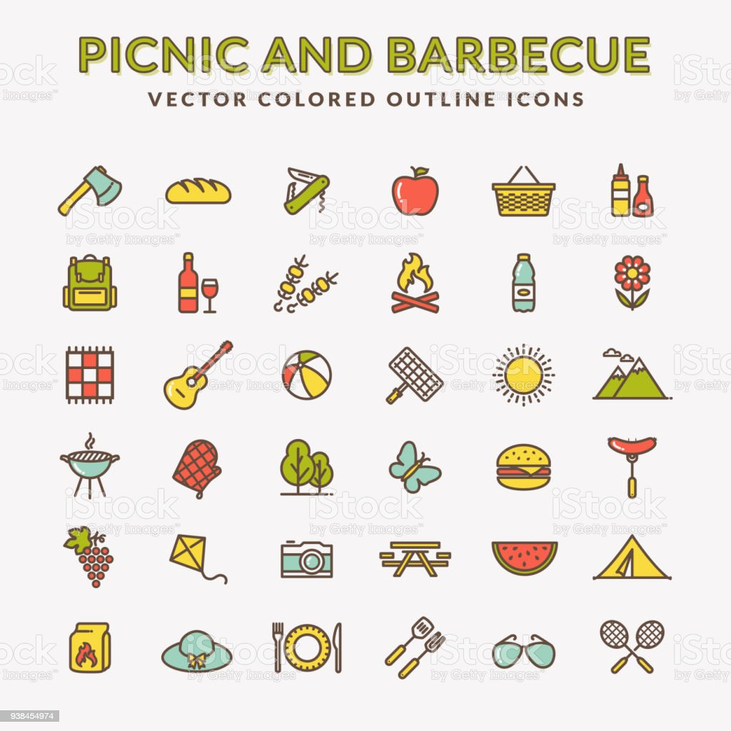 Picnic and barbecue colored outline icons. vector art illustration