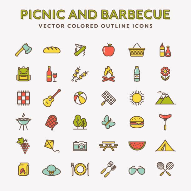 ilustraciones, imágenes clip art, dibujos animados e iconos de stock de picnic y barbacoa de color los iconos de contorno. - picnic