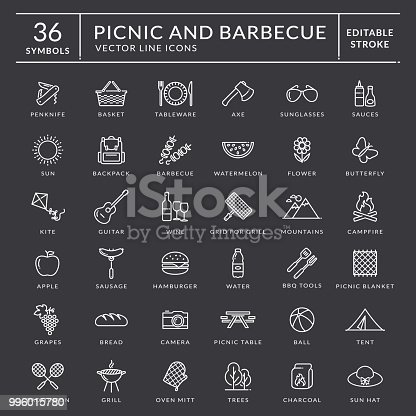 Picnic and barbecue web icon set. White outline symbols with inscriptions. Outdoor recreation elements isolated on black background. Editable stroke for easy line width editing. Vector collection.