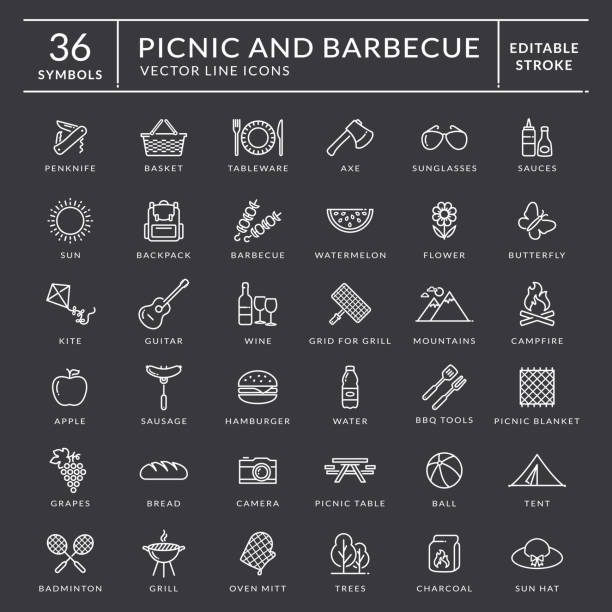 Picnic and barbecue outline icons. Editable stroke. Picnic and barbecue web icon set. White outline symbols with inscriptions. Outdoor recreation elements isolated on black background. Editable stroke for easy line width editing. Vector collection. picnic stock illustrations