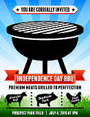 picnic and barbecue summer party invitation with blue sky background