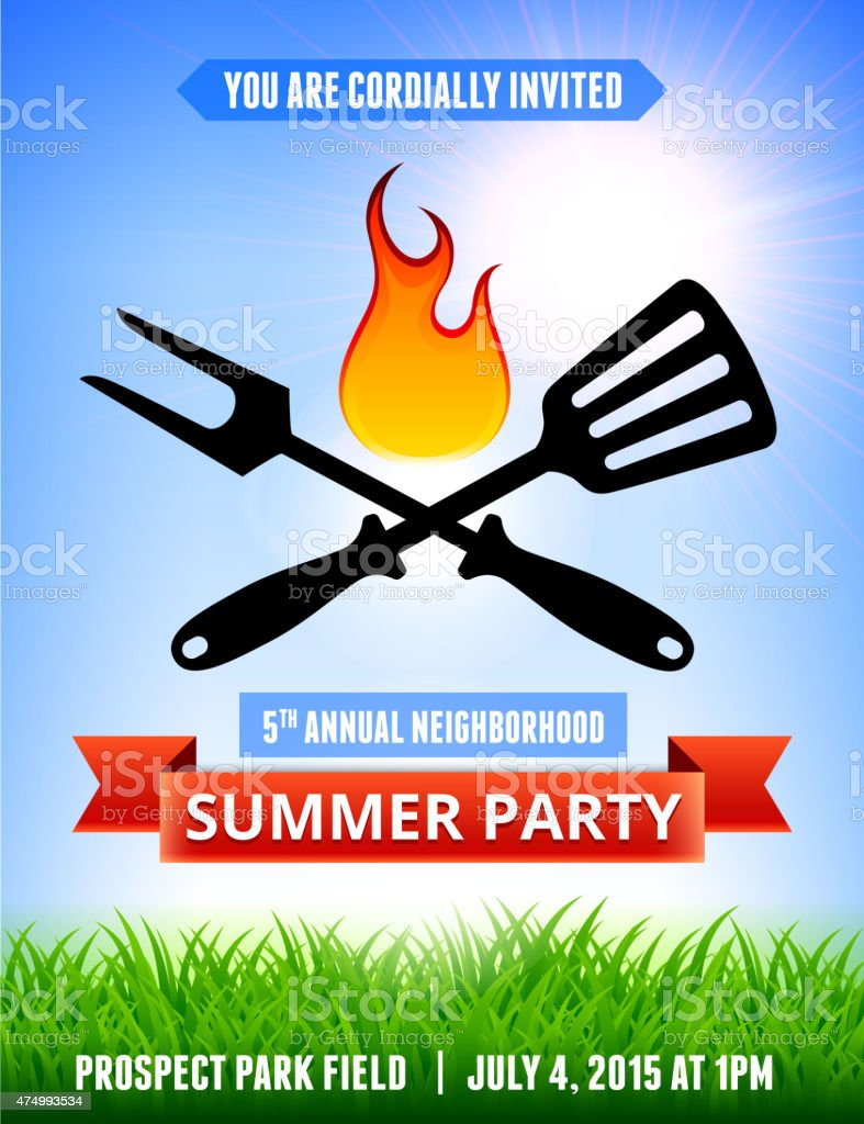 picnic and barbecue summer party invitation with blue sky backgr vector art illustration