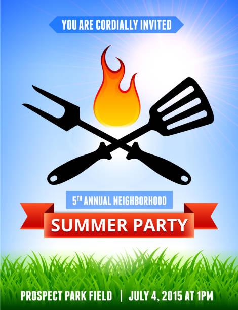 ilustraciones, imágenes clip art, dibujos animados e iconos de stock de picnic y parrillas fiesta de verano azul cielo backgr invitación con  - fiesta en el jardín