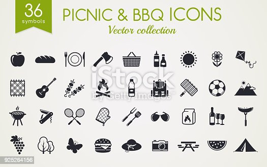 istock Picnic and barbecue vector icons. 925264156