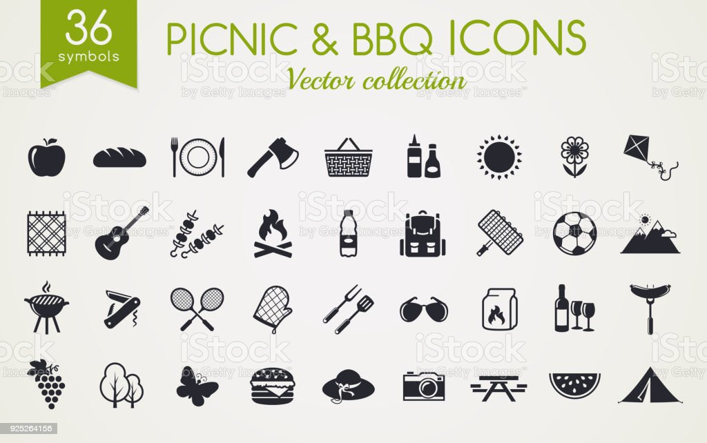 Picknick en barbecue vector iconen.​​vectorkunst illustratie