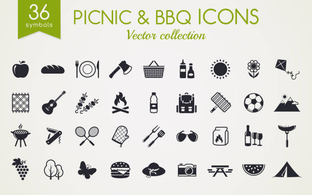 Picnic and barbecue vector icons. vector art illustration