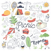 Picnic and BBQ Hand Drawn Doodle. Camping Outdoor Vacation Freehand Set. Vector illustration