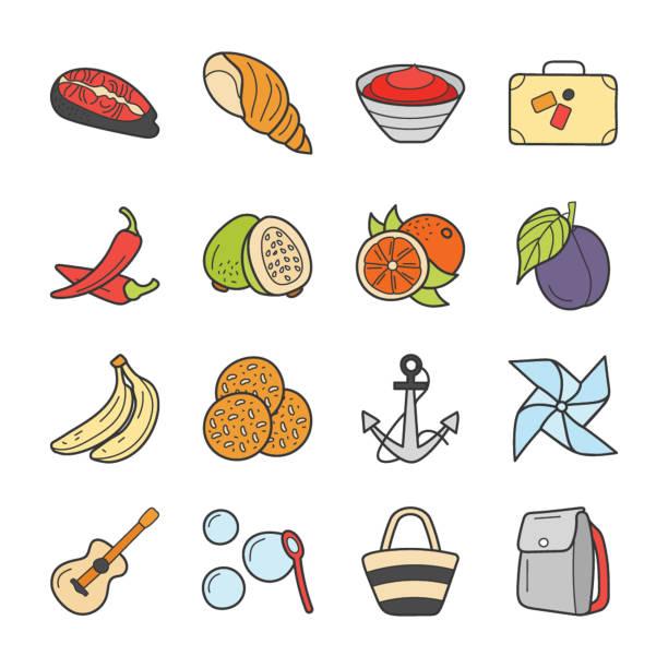 picknick und reise-icons bundle - pflaumenkuchen stock-grafiken, -clipart, -cartoons und -symbole