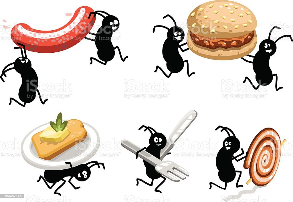 Picnic ants carrying BBQ food away (vector) vector art illustration