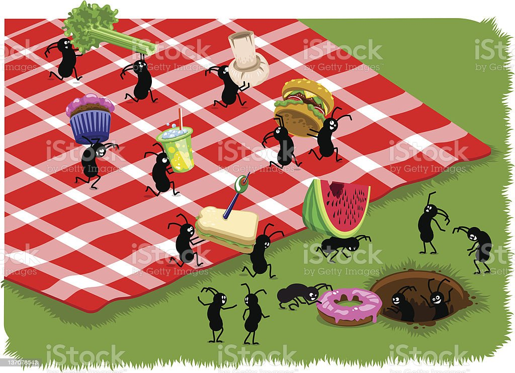 Picnic ants carrying food from picnic (vector) vector art illustration
