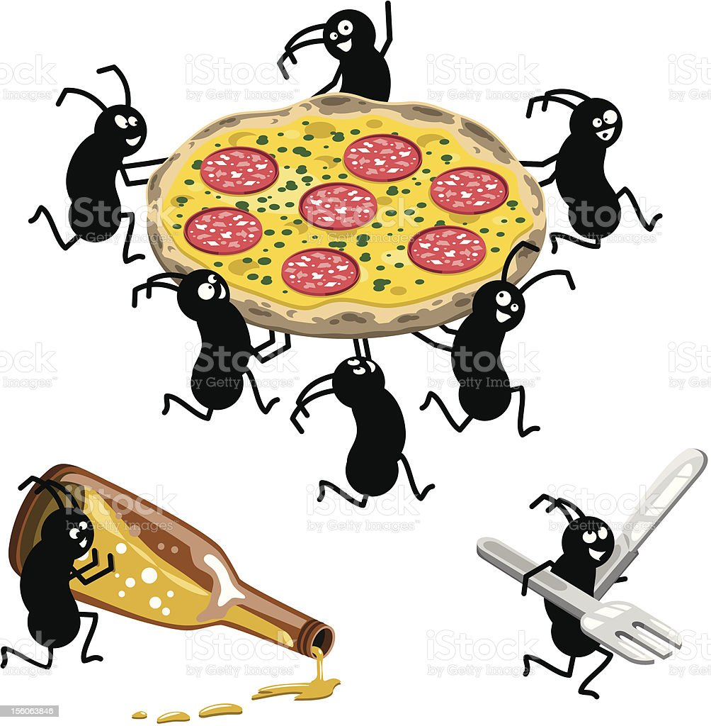 Picnic ants running away with beer and pizza (vector) vector art illustration