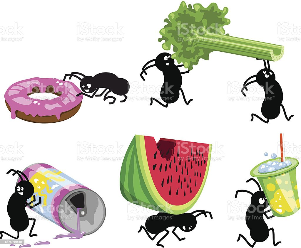 Picnic ants running away with picnic food (vector) vector art illustration