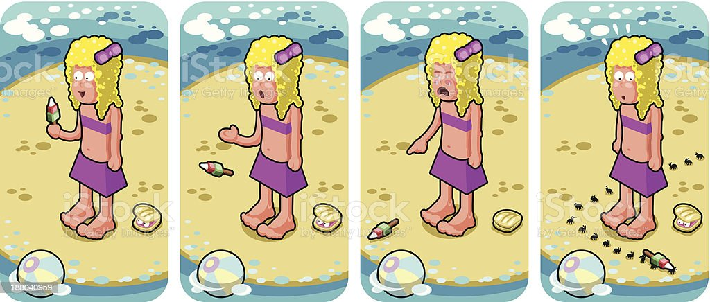 Picnic ants steal girl's ice cream on beach (vector set) vector art illustration