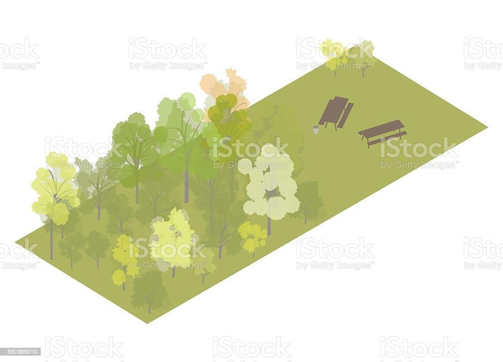 Picnic area isometric illustration vector art illustration