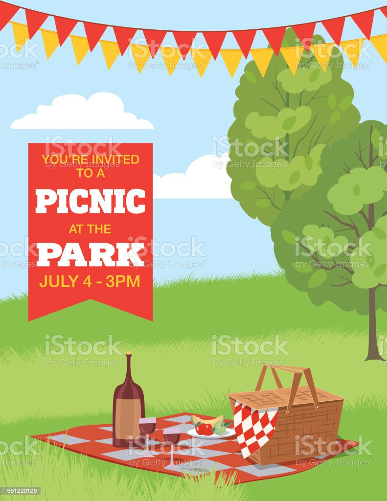 Picknick Einladung Hintergrundvorlage Stock Vektor Art und mehr ...