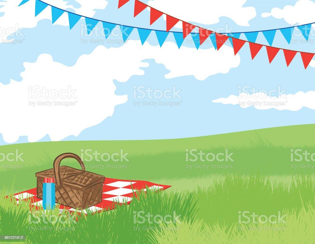 ピクニック バック グラウンドの招待状のテンプレート ベクターアートイラスト