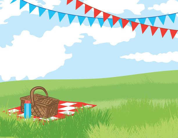 ilustraciones, imágenes clip art, dibujos animados e iconos de stock de plantilla de invitación de fondo de picnic - picnic