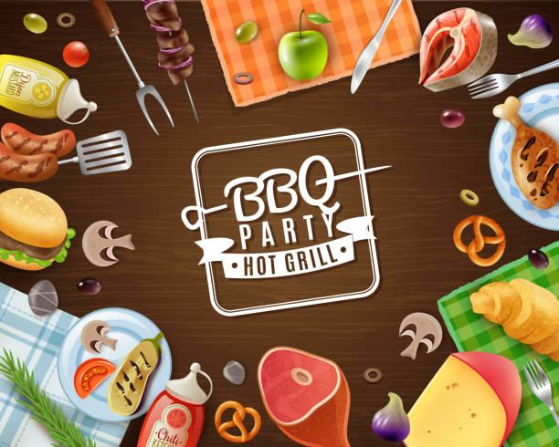 ilustrações de stock, clip art, desenhos animados e ícones de picnic barbecue frame background - meat texture