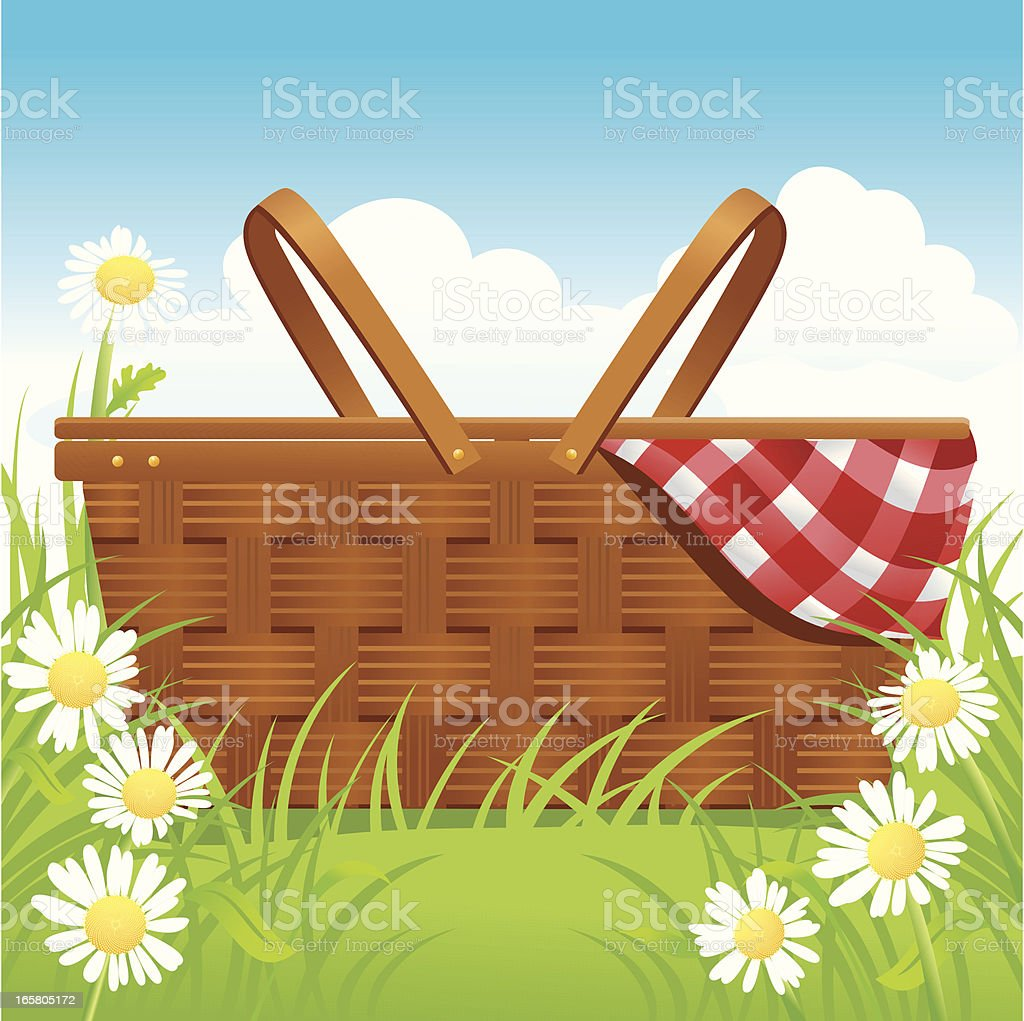 Picnic basket and daisies royalty-free stock vector art