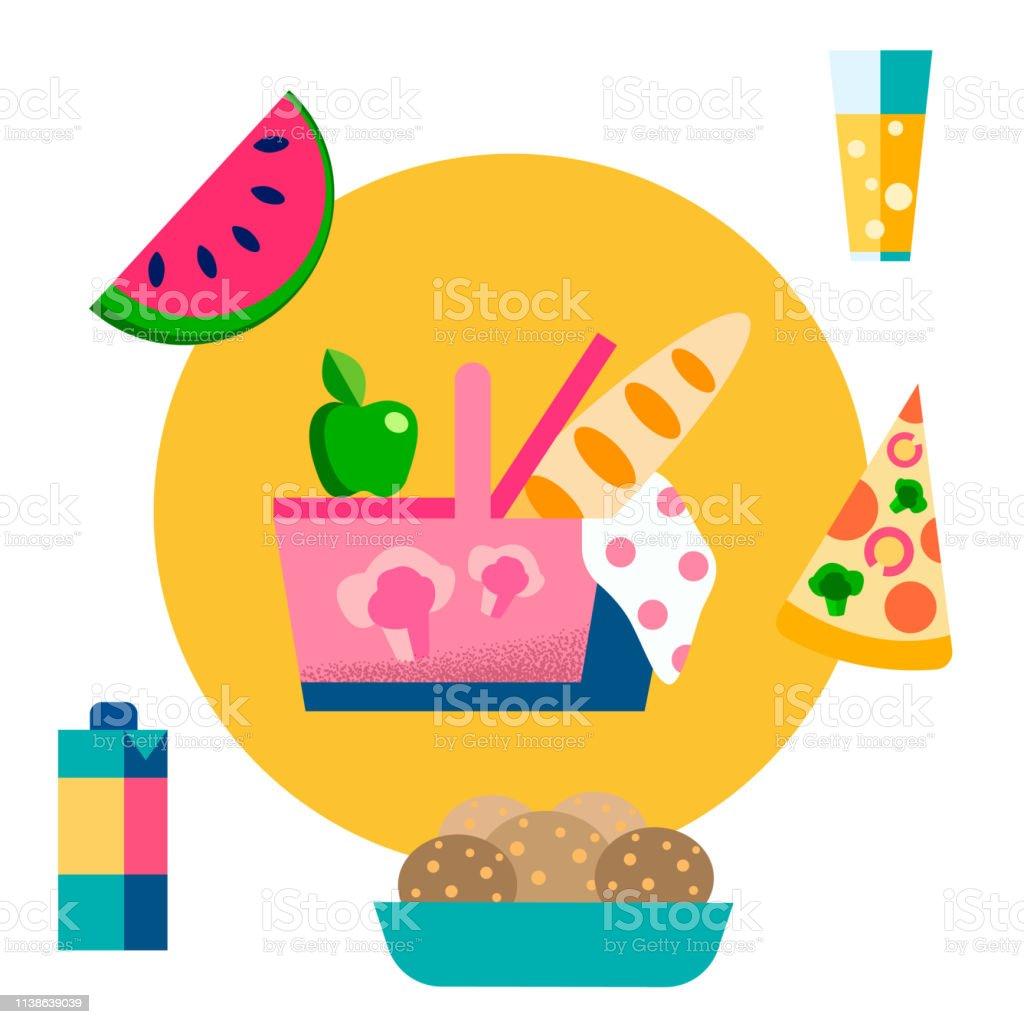 Picnic Basket, Food, Drinks Vector Illustration. Eating Outdoors....