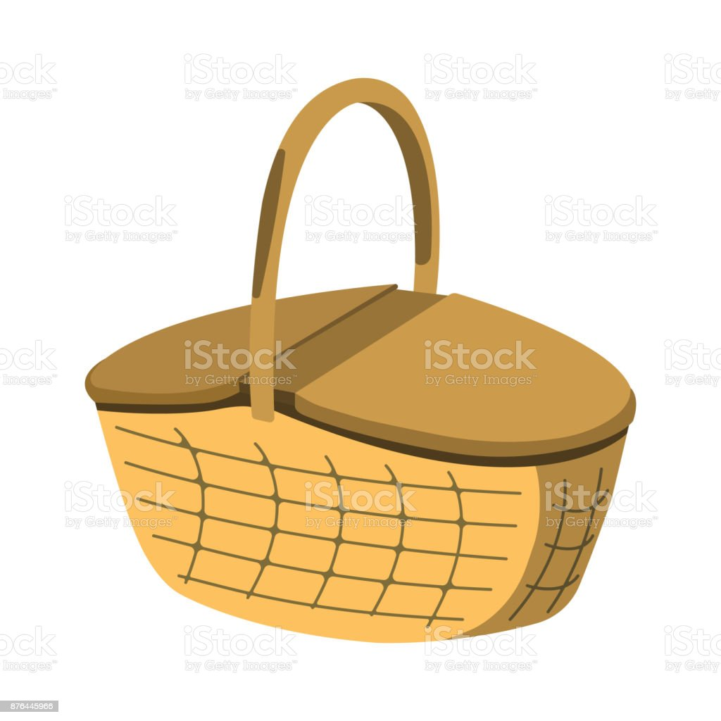 Picnic Basket Icon Bbq And Picnic Label On White Background Cartoon Style Vector Illustration Stock Illustration Download Image Now Istock