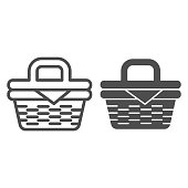 istock Picnic basket line and solid icon, summer time concept, Wicker picnic basket sign on white background, basket with food for outdoor leisure icon in outline style for mobile and web. Vector graphics. 1252563423
