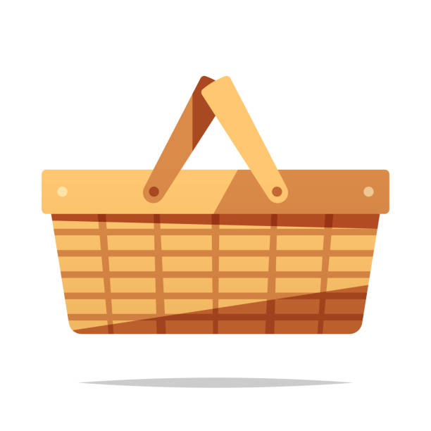 Picnic basket vector isolated illustration Vector element picnic stock illustrations